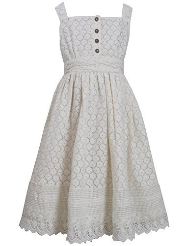 Big-Girls TWEEN 7-16 Ivory Button Lace Overlay Dress, 8, Ivory, Bonnie Jean, ...