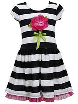 Bonnie Jean Little-Girls 2T-6X Lace Stripe Dimensional Flower Stem Knit Dress...