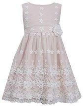 Little-Girls 2T-6X Floral Border Lace Mesh Overlay Dress, Bonnie Jean, Pink, 4T