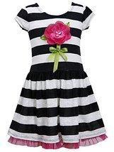Bonnie Jean Little-Girls 2T-6X Lace Stripe Dimensional Flower Stem Knit Dress... image 1