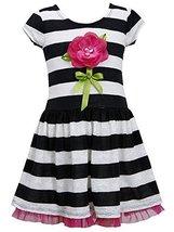 Bonnie Jean Little-Girls 2T-6X Lace Stripe Dimensional Flower Stem Knit Dress... image 2