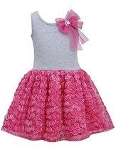 Little Girls 2T-6X Fuchsia-Pink Bow Shoulder Knit to Bonaz Rosette Dress (2T,... image 2