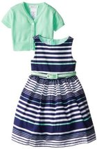 Bonnie Jean Little Girls' Gradient Stripe with Sweater Dress, Mint, 6x [Apparel] image 2