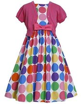 Bonnie Jean Big Girls Tween 7-16 Multicolor Rainbow Dot Print Dress/Jacket Se... image 1