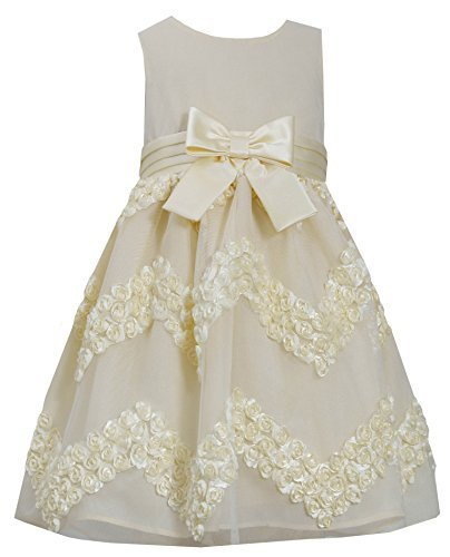 Little-Girls 2T-6X Yellow Chevron Bonaz Rosette Mesh Overlay Dress, Bonnie Je...