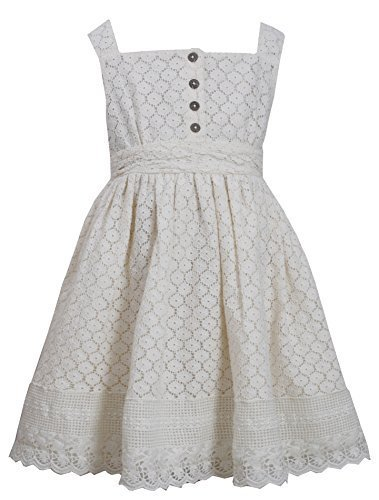 Little-Girls 2T-6X Ivory Button Lace Overlay Dress, 4T, Ivory, Bonnie Jean, T...