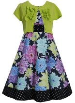 Lime-Green Black Floral Print Dress/Jacket Set LI4BA, Lime, Bonnie Jean Tween...