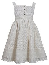Little-Girls 2T-6X Ivory Button Lace Overlay Dress, 5, Ivory, Bonnie Jean, TD...