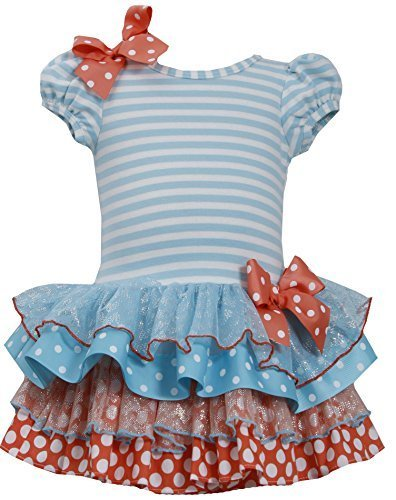 Little Girls 2T-6X Stripe Knit to Mix Print Drop Waist Dress, TQ2BA, Turquois...