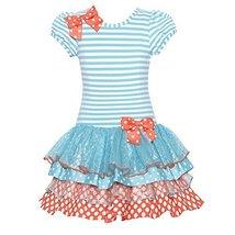 Bonnie Jean Little Girls' Aqua Coral Polka Dots Mixed Ruffles Dress, 4T Bonni...