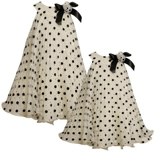 Size-6X BNJ-4736X IVORY BLACK Flock and Foil Dot Sunburst Pleat Mesh Overlay ...