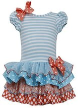 Little Girls 2T-6X Stripe Knit to Mix Print Drop Waist Dress, TQ3NA, Turquois...