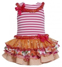 Fuchsia-Pink Stripe Knit to Mix Print Sparkle Tier Dress FU2HA, Fuchsia, Bonn...