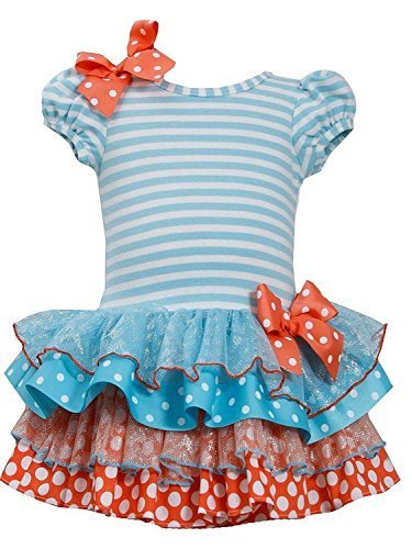 Bonnie Jean Little Girls Turquoise Striped Dotted Bow Tutu Easter Dress 6 Bon...