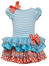 Bonnie Jean Little Girls Turquoise Striped Dotted Bow Tutu Easter Dress 6 Bon... image 2