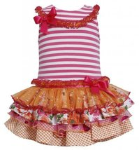 Fuchsia-Pink Stripe Knit to Mix Print Sparkle Tier Dress FU2BA, Fuchsia, Bonn...