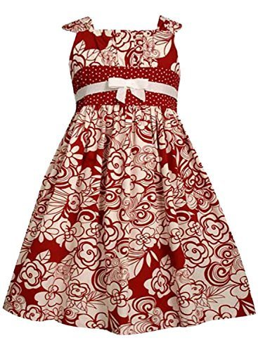 Little Girls 2T-6X Red White Floral Print Emma Dress (3T, Red) [Apparel]