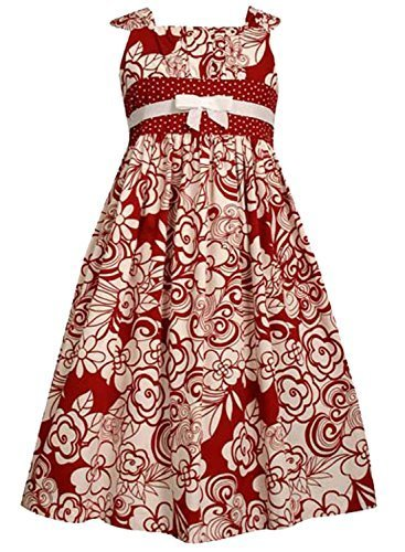 Bonnie Jean Big Girls' Red And White Print Woven Dress,Red,16 [Apparel]