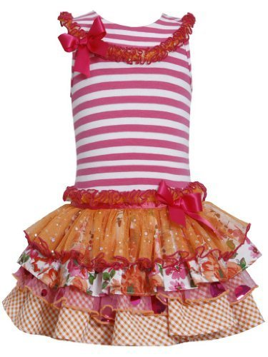 Fuchsia-Pink Stripe Knit to Mix Print Sparkle Tier Dress FU3SP, Fuchsia, Bonn...