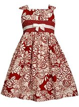 Little Girls 2T-6X Red White Floral Print Emma Dress (6X, Red) [Apparel]