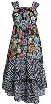 Big GIrls Plus Black/White Multi Floral Chiffon High-Low Maxi Dress, Black/Wh...