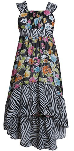 Big GIrls Plus Black/White Multi Floral Chiffon High-Low Maxi Dress, Black/Wh...