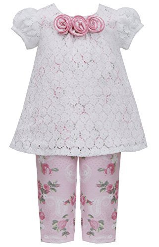 Little Girls 2T-6X Pink Ivory Lace Over Rose Floral Knit Top/Legging Set (2T,...