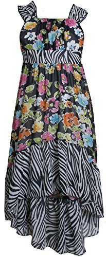 Big Girls Plus Black/White Multi Floral Chiffon High-Low Maxi Dress, 18.5, Bl...
