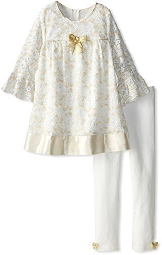 Bonnie Jean Little-Girls 2T-6X Gold Ivory Glitter Lace Dress/Legging Set (6X,...