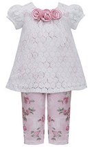 Little Girls 2T-6X Pink Ivory Lace Over Rose Floral Knit Top/Legging Set (4T,...