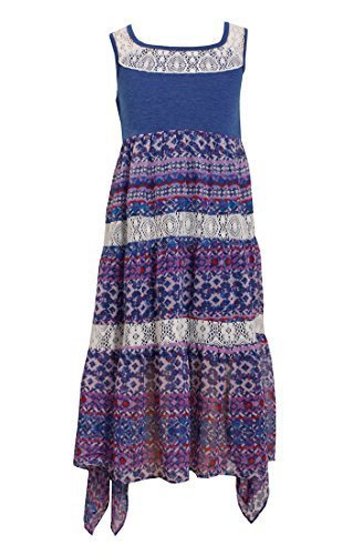 Big-Girls Tween 7-16 Blue White Mix Media Lace Chiffon Tier Maxi Dress, 12, B...