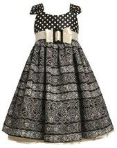 Dots to Floral Scroll Print Buckle Bow Shantung Dress BW3FR,Bonnie Jean Littl...