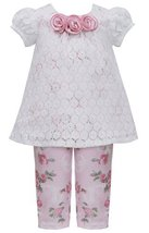 Little Girls 2T-6X Pink Ivory Lace Over Rose Floral Knit Top/Legging Set (4T,... image 2