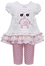 Infant Baby-Girls 12M-24M Pink White Lace Wing Owl Applique Top/Legging Set (... image 1
