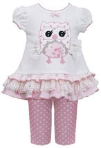 Infant Baby-Girls 12M-24M Pink White Lace Wing Owl Applique Top/Legging Set (... image 2