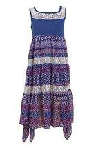 Big-Girls Tween 7-16 Blue White Mix Media Lace Chiffon Tier Maxi Dress, 8, Bl...
