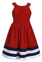 Little Girls 2T-6X Colorblock Border Nautical Resort Dress (5, Red) [Apparel]