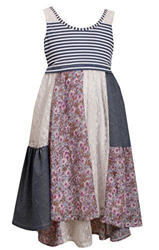 Big-Girls Tween Blue Mix Media Lace Floral Chambray Panel High Low Dress, Blu...