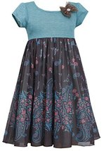Little Girls 2T-6X Brown Turquoise Stripe Knit to Paisley Border Chiffon Dres...