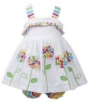 Baby-Girls Infant White Embroidered Rolled Rosette Flower Stem Dress (24 Mont...