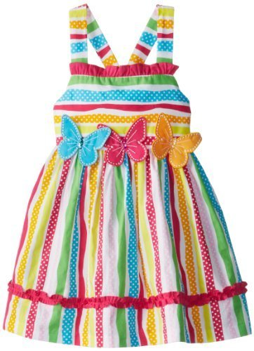 Bonnie Jean Little Girls' Multi Stripe Butterfly Applique Dress, Fuchsia, 3T ...