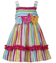 Bonnie Jean Little Girls' Multi Stripe Butterfly Applique Dress, Fuchsia, 4 B... image 1