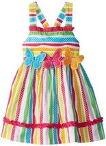 Bonnie Jean Little Girls' Multi Stripe Butterfly Applique Dress, Fuchsia, 4 B... image 2