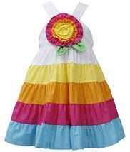 Baby Girls 12M-24M Fuchsia-Multi Big Rosette and Bold Colorblock Tier Dress (... image 1