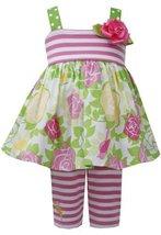 Pink Green Rose Floral Print Stripe Knit Dress/Legging Set PK0SA, Pink, Bonni...