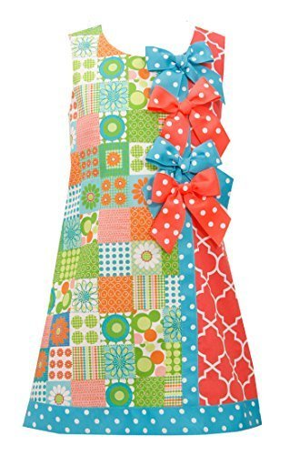 Little-Girls 2T-6X Green Multi Bow Patchwork Block Print Shift Dress, 6X, Gre...