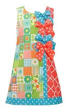 Little-Girls 2T-6X Green Multi Bow Patchwork Block Print Shift Dress, 6X, Gre...