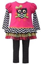 Little Girls 4-6X Fuchsisa/Multi Knit To Mesh Tutu Owl Applique Dress/Legging...