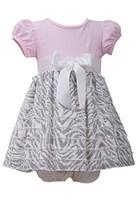 Baby Girls 12M-24M Pink/Grey Knit to Spangle Zebra Stripe Eyelash Ruffles Dre...