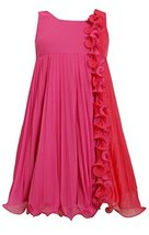 Little-Girls 2T-6X Fuchsia Pink Colorblock Wire Ruffle Pleated Chiffon Dress, 6X